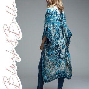 ATHENA Teal Boho Mandala Print Kimono